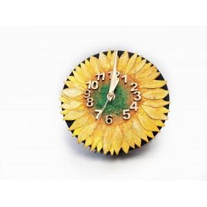 Ceas de perete, Florya Fiore, by BrosNor, din piele naturala, Floarea Soarelui, diametru 18  cm