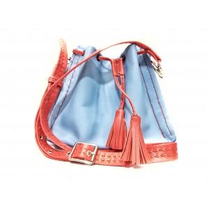 Geanta - Sac BrosNor, Unicat, lucrata manual, din piele naturala, Bleu/Rosu, 20 x 22 cm