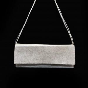 Poseta BrosNor, Unicat, lucrata manual, din piele naturala,  Argintiu, 30 x 12 cm