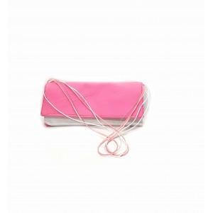 Poseta BrosNor, Unicat, lucrata manual, din piele naturala,  Roz/Argintiu, 30 x 12 cm