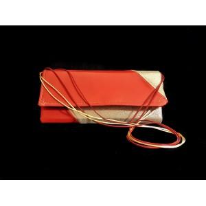 Poseta BrosNor, Unicat, lucrata manual, din piele naturala, auriu cu rosu, 30 x 12 cm