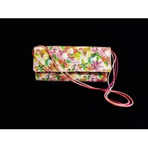Poseta BrosNor, Unicat, lucrata manual, din piele naturala model floral, Multicolor, 30 x 12 cm