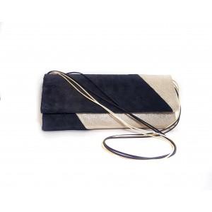 Poseta BrosNor, Unicat, lucrata manual, din piele naturala intoarsa, auriu cu negru, 30 x 12 cm