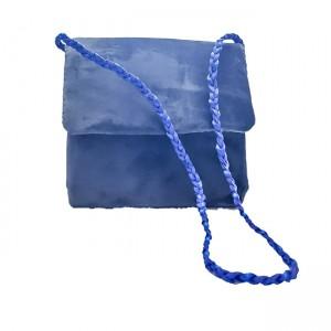 Poseta din catifea, BrosNor, Albastru, 14 x 14 x 4 cm