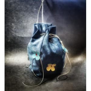 Poseta Sac din catifea, BrosNor, Bleumarin, 30 cm × 20 cm