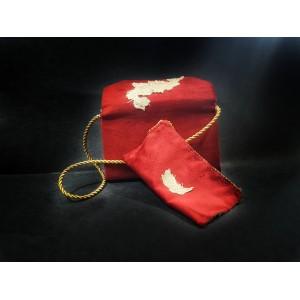 Set poseta catifea cu portofel, BrosNor, Rosu,14 cm × 22 cm