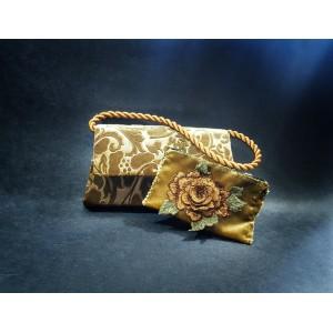 Set poseta catifea cu portofel, BrosNor, Auriu,14 cm × 22 cm