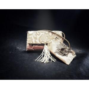 Set poseta plus cu portofel, BrosNor, Auriu,14 cm × 22 cm