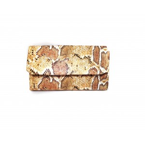 Poseta plic, piele ecologica sarpe, BrosNor, Animal print multicolor, 14 cm × 22 cm