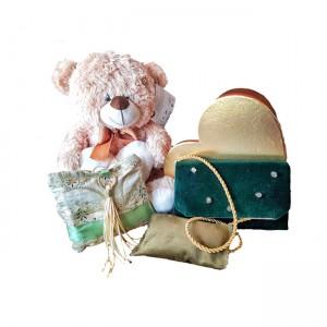 Set poseta catifea cu portofel, perna fantezie cutie si ursulet de plus, BrosNor, Multicolor, M